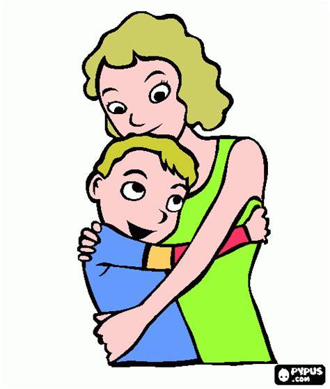 Madre Abrazando A Su Hijo | ni 241 o abrazando a otro colouring pages