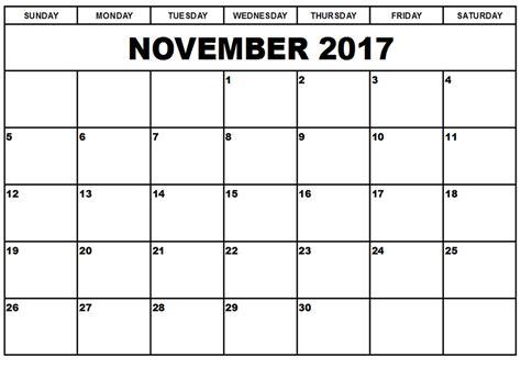 Calendar 2017 November Pdf November 2017 Printable Calendar Printable Calendar