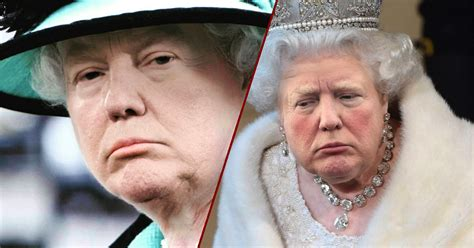 queen elizabeth donald trump michal krauthamer photoshops trump s face on the queen s body