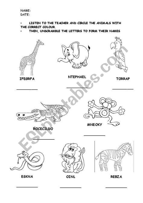WILD ANIMALS (LISTENING-READING WORKSHEET) - ESL worksheet