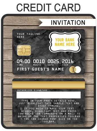 Credit Card Template Png black credit card invitations mall scavenger hunt