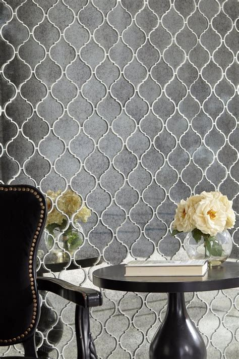 Antique Mirror Arabesque Mosaic Glass Tile   10in. x 14in