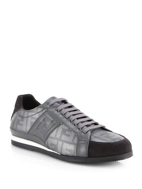 fendi sneakers for fendi zucca laceup sneakers in gray for grey lyst