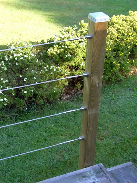 timber decking post wire balustrade connection detail