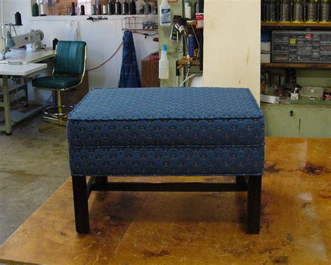 re upholstery shops wrapping ottoman upholstery in beautiful fabric