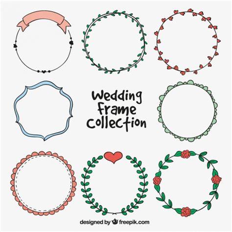 cornici matrimonio pacchetto disegnati a mano con con cornici circolari di
