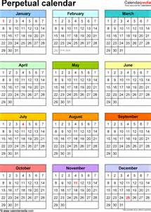 free printable perpetual calendar template calendar