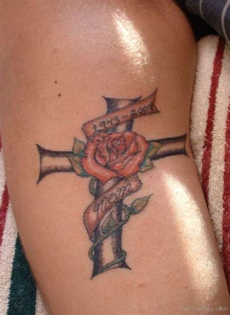 cross with flower tattoo christian tattoos designs pictures page 39