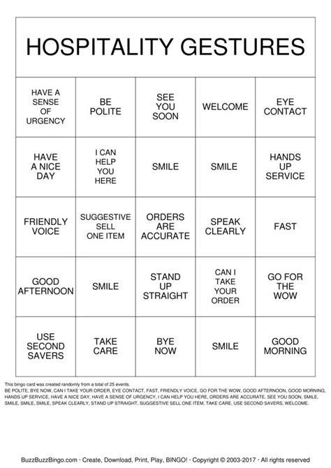 hospitality gestures bingo cards   print