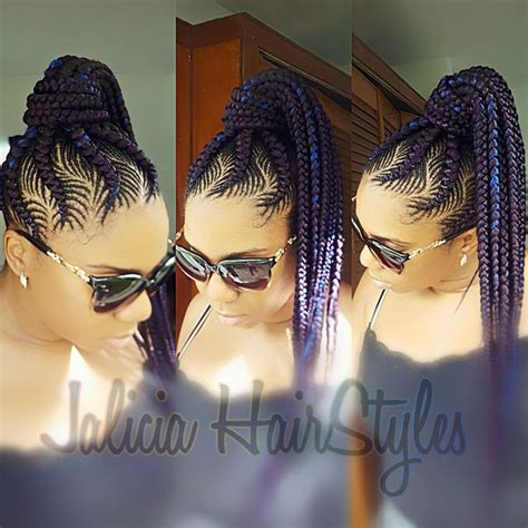 pin up med braids feed in braids ponytail braided hair styles pinterest
