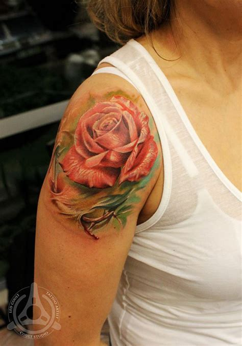pinks tattoo on her shoulder 40 eye catching rose tattoos nenuno creative