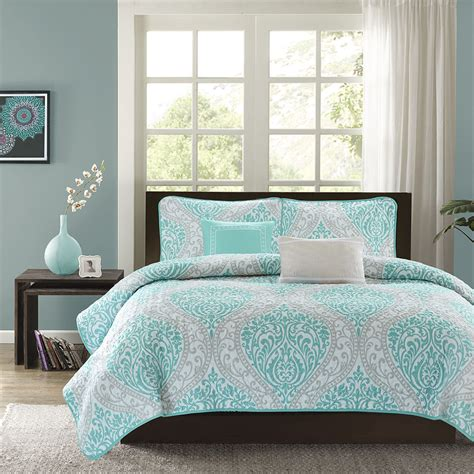 teal coverlet modern chic blue teal aqua white grey beach ocean textured