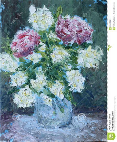 dipingere fiori a olio fiori in una pittura a olio vaso illustrazione di