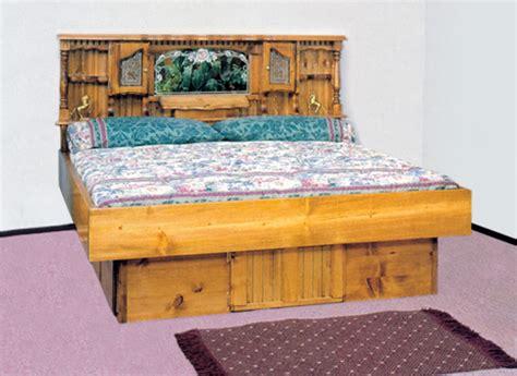 Water Bed Frames Waterbed Floral Complete Hb Fr Deck Ped K King Pine Waterbeds Frames Pine