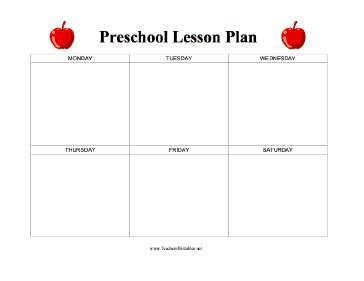 lesson plan template preschool printable preschool lesson plan