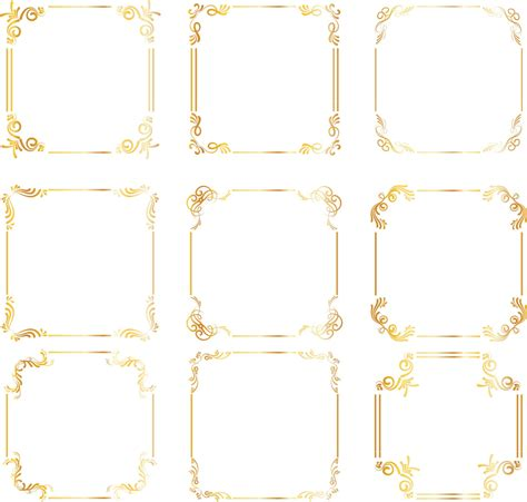 Wedding Border Gold by Gold Square Frames Borders Gold Wedding Clipart Digital Clip