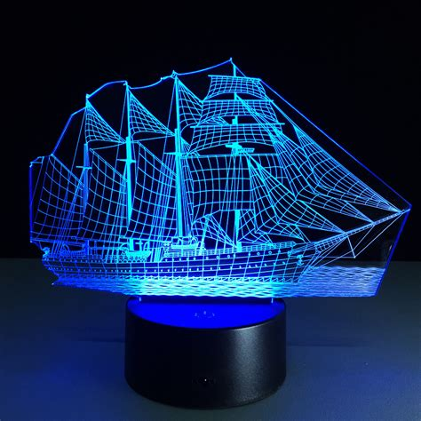 chagne color bedroom sailing boat acrylic 3d stereo vision l 7 color change l remote ouch switch
