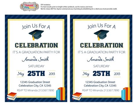 invitation layout for graduation free graduation party invitation template