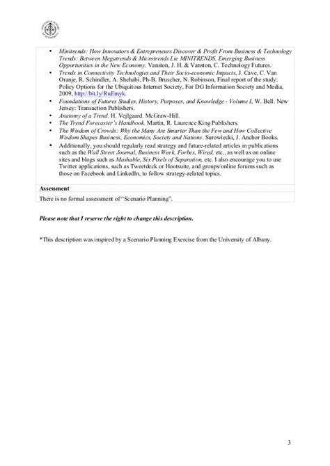 Scenario Planning mini-course description