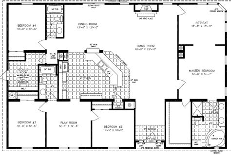 four bedroom floor plan floorplans for manufactured homes 2000 square up