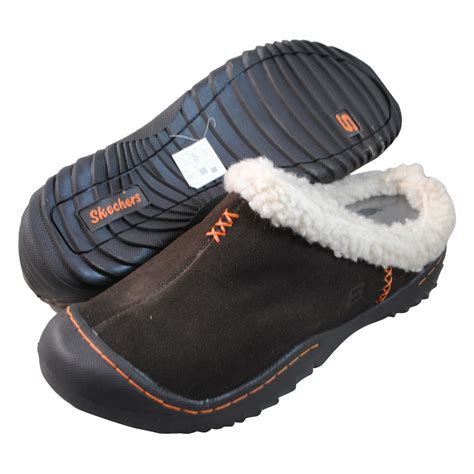 spartan slippers skechers womens spartan snuggly brown clogs and mules