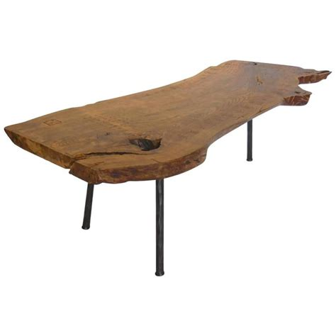Wood Slab Coffee Tables Live Edge Wood Slab Coffee Table Or Bench With Three Legs At 1stdibs