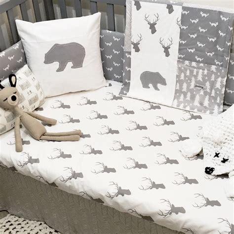 Deer Themed Crib Bedding Monochrome Gray And White Woodland Nursery Crib Bedding Set With Deer Fox Trees And
