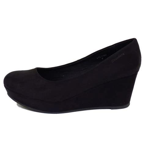 womens black mid heel wedge platform court work