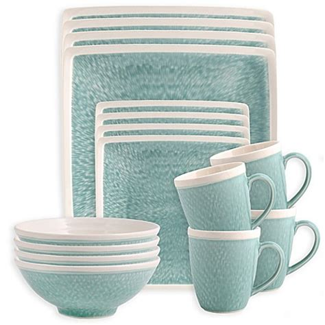 bed bath and beyond dish sets sango vega 16 piece dinnerware set in aqua bed bath beyond