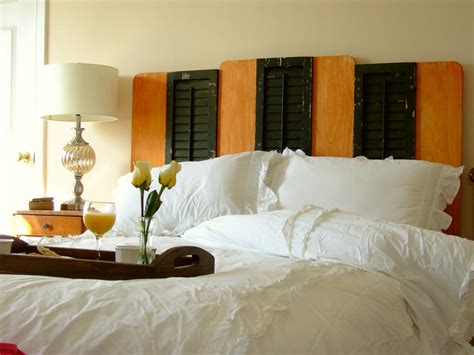 creative diy headboards 1940s deco three reclaimed window shutters are sandwiched