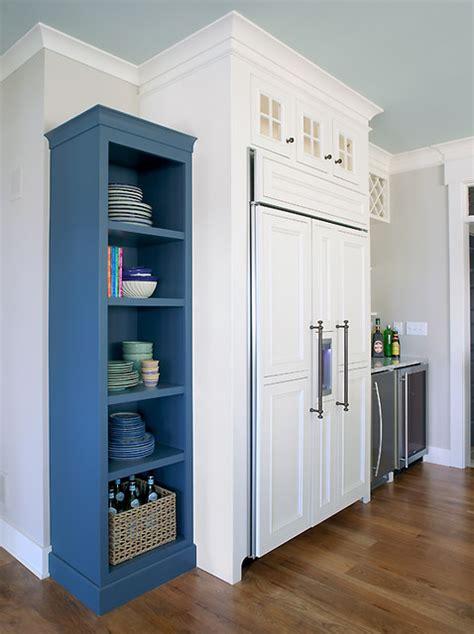 Kitchen Refrigerator Built Ins Transitional Kitchen Refrigerator Built In Cabinet