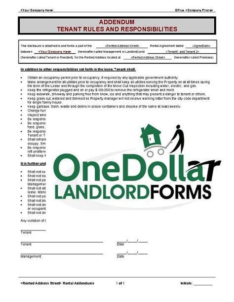section 8 rules and regulations for tenants b03 addendum tenant rules and responsibilities
