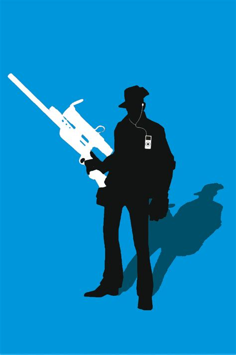 01032b Silhoutte Ii Blue tf2 blue sniper silhouette earbuds for iphone4 4s by