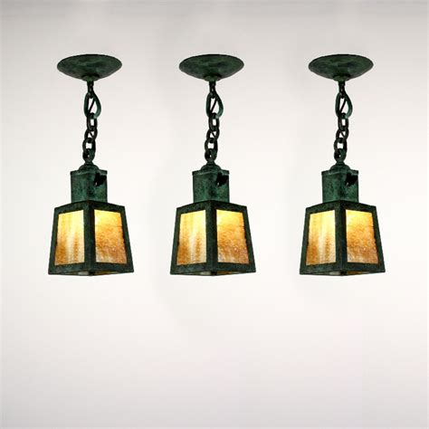 Arts And Crafts Pendant Light Matching Antique Arts Crafts Copper Lanterns With Slag Glass Verdigris Nc1350 For Sale