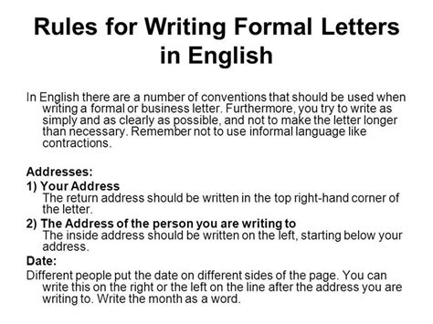exle of formal letter composition letter writing rules