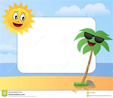 template karikatur photoshop cartoon summer photo frame 1 stock photos image 14190003
