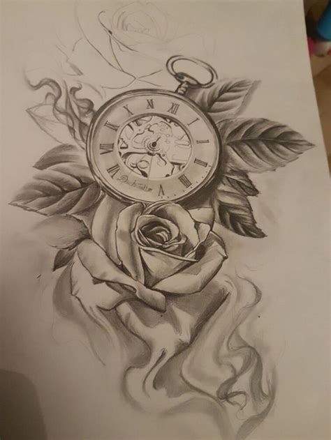 clock tattoos with roses clock s clock