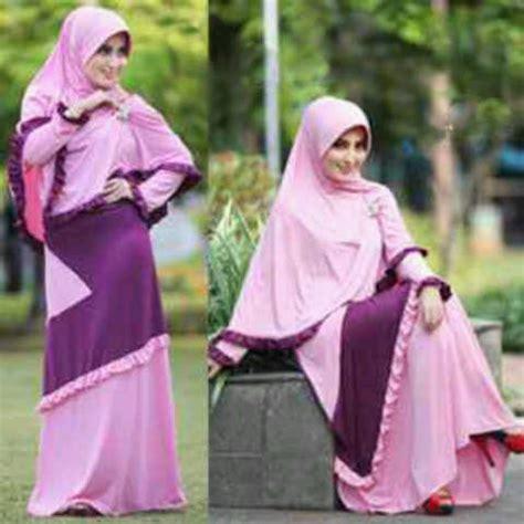 Baju Muslim Gamis Syari Murah Fauzia Set Ungu baju gamis set bergo kirana jual busana muslim syarii murah model terbaru