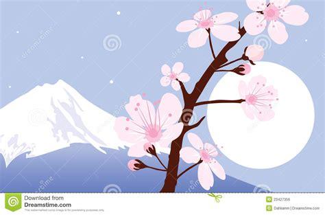 vector mount fuji moon  sakura royalty  stock