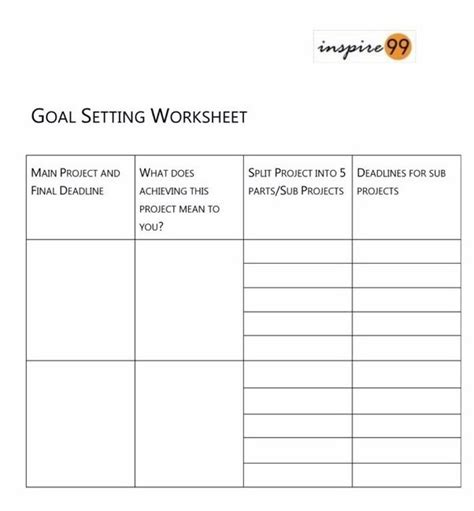 goal setting worksheet 8 free brilliant designs what are some of the best goal setting questions