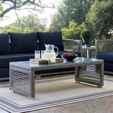 modway aura wicker outdoor coffee table  gray eei