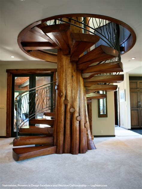 Wooden Spiral Stairs Design Custom Wood Stairs Gallery Log Stairs