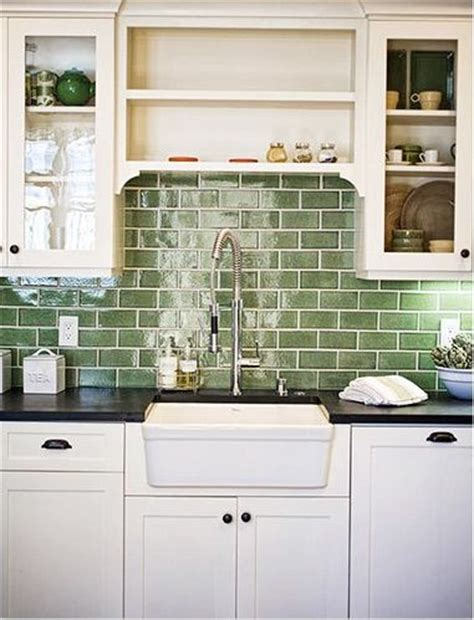 Green Tile Backsplash Kitchen | recycled materials subway tile backsplash and countertops