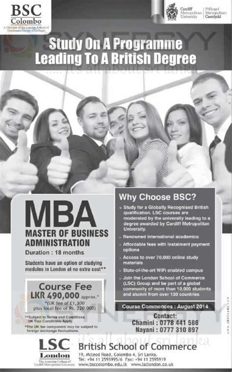 Cardiff Mba In Sri Lanka by Cardiff Metropolitan Mba In Sri Lanka From Lsc