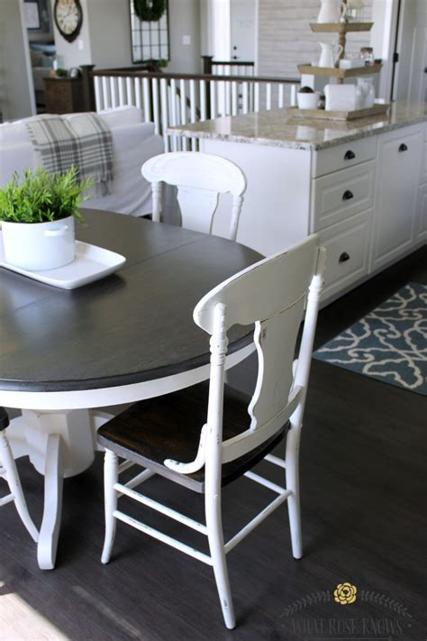 Painted Kitchen Table And Chairs Farmhouse Style Painted Kitchen Table And Chairs Makeover What Knows