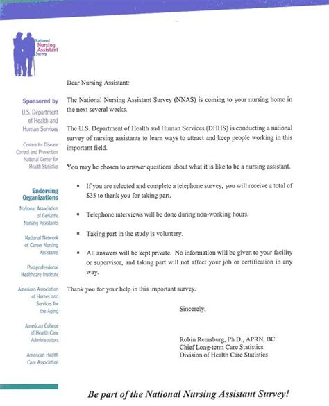 Survey Introduction Letter Exle An Introduction To The National Nursing Assistant Survey Aspe