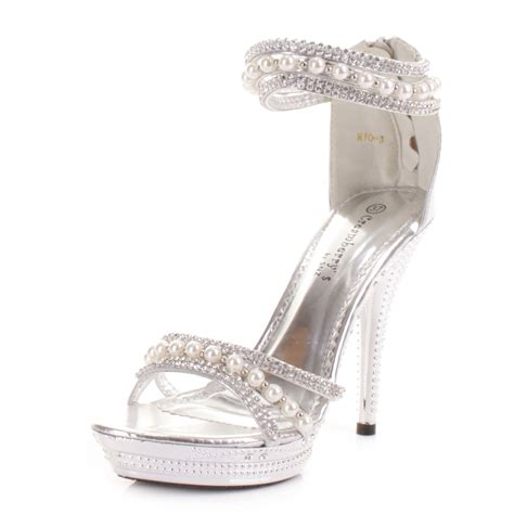 womens high heel silver diamante pearl ankle wedding