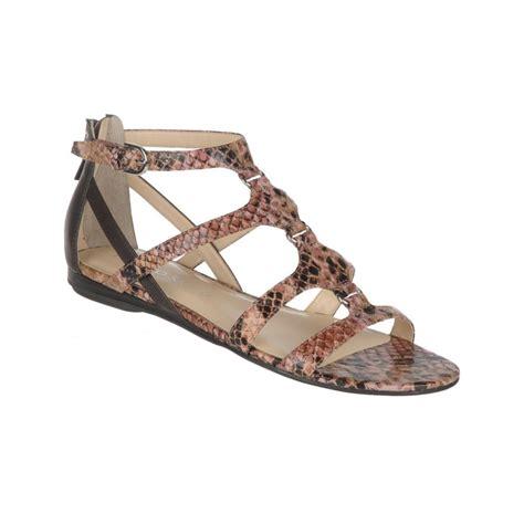 franco sarto sandals franco sarto fava flat sandals in animal snake lyst