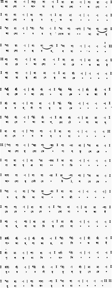Song alo amar alo ogo | Musical notation