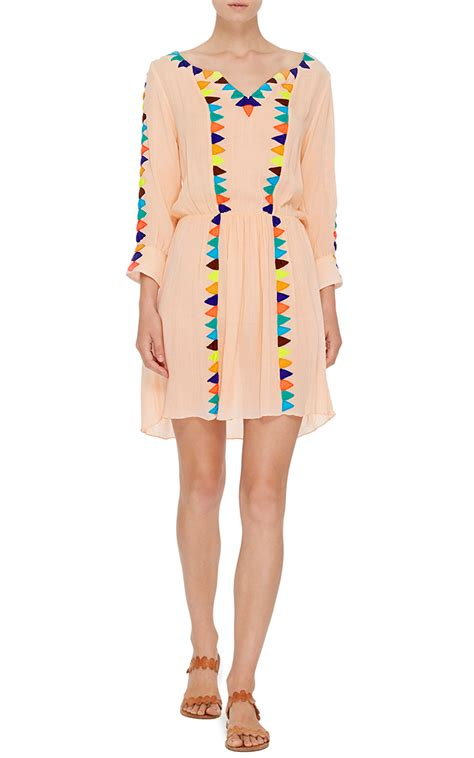 triangle pattern dress lyst pia pauro triangle pattern long sleeve dress in natural